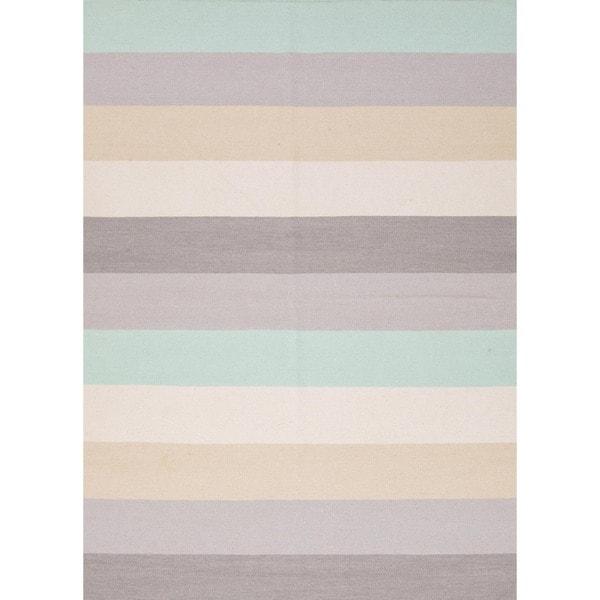 Handmade Flat Weave Stripe Gray/ Black Wool Rug (5' x 8')