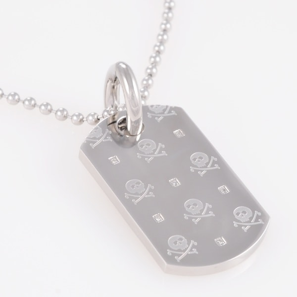 Stainless Steel Diamond Accent Skull Dog Tag Necklace