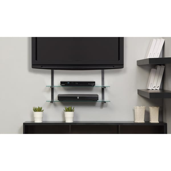 Tv Shelf Mount : flat screen lcd tv wall mount up to 50 inch w glass shelves video game