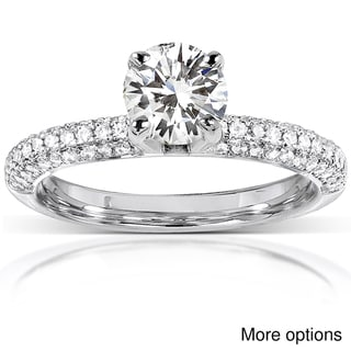 14k White Gold Moissanite and 1/4ct TDW Round-cut Diamond Engagement Ring (G-H, I1-I2)