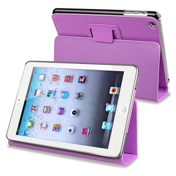 INSTEN Purple Leather Tablet Case Cover with Stand for Apple iPad Mini 1/ 2 Retina Display