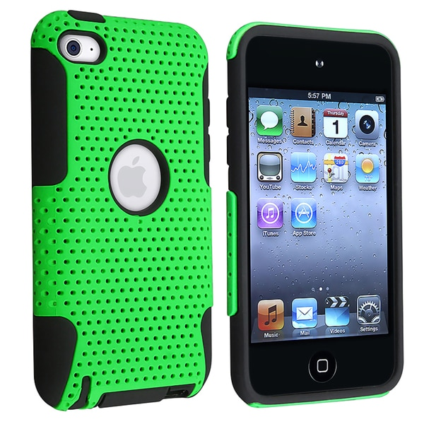 INSTEN Black/ Green Hybrid iPod Case Cover for Apple iPod Touch Generation 4