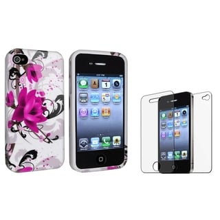 INSTEN TPU Phone Case Cover/ Anti-glare LCD Protector for Apple iPhone 4/ 4S