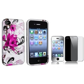 BasAcc Flower TPU Case/ Mirror LCD Protector for Apple iPhone 4/ 4S