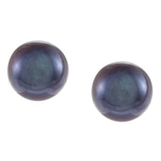 DaVonna 14k Gold Black Perfect Round Akoya Pearl Stud Earrings (7 mm )