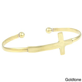 Handcrafted Goldtone Sideways Cross Cuff Bracelet (Mexico)
