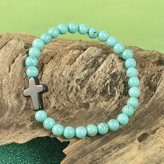 Handcrafted Sideways Cross and Semi-precious Stone Bracelet