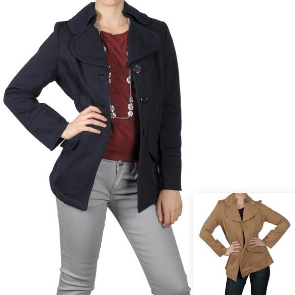 Journee Collection Women's Fleece Button Front Coat