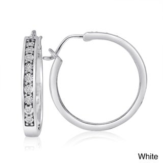 New! Sterling Silver 1/10ct TDW Diamond Hoop Earrings (H-I, I1-I2)