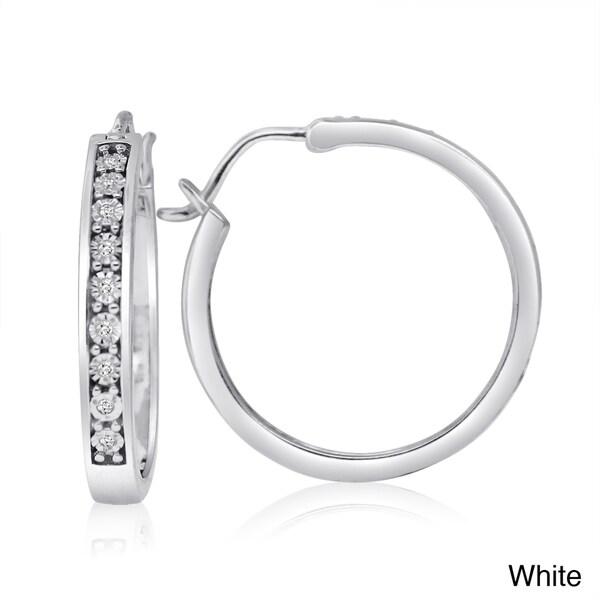 Sterling Silver White or Color Diamond Hoop Earrings (H-I, I1-I2)