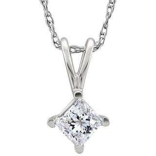 14k White Gold Diamond Princess Solitaire Necklace
