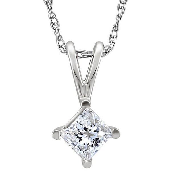14k White Gold Diamond Princess Solitaire Necklace