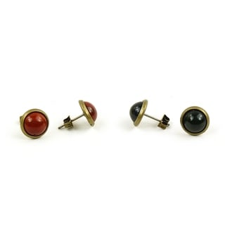 Pretty Little Style Antique Bronze Gemstone Stud Earrings