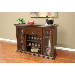 Roswell Cherry Finish Home Bar with Sliding Top