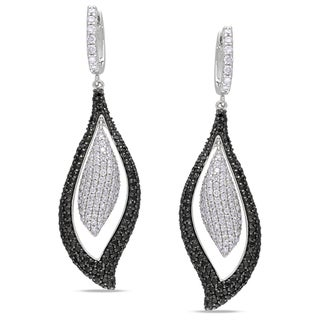 Miadora 14k Gold 3 1/2ct TDW Black and White Diamond Earrings (I-J, I1-I2)