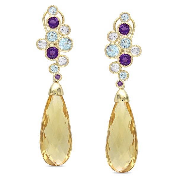 Miadora 14k Yellow Gold Multi-gemstone Dangle Earrings