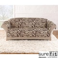 Velvet Zebra Brown Sofa Slipcover