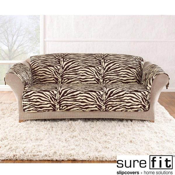 Velvet Zebra Brown Sofa Slipcover
