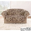 Velvet Zebra Brown Loveseat Cover