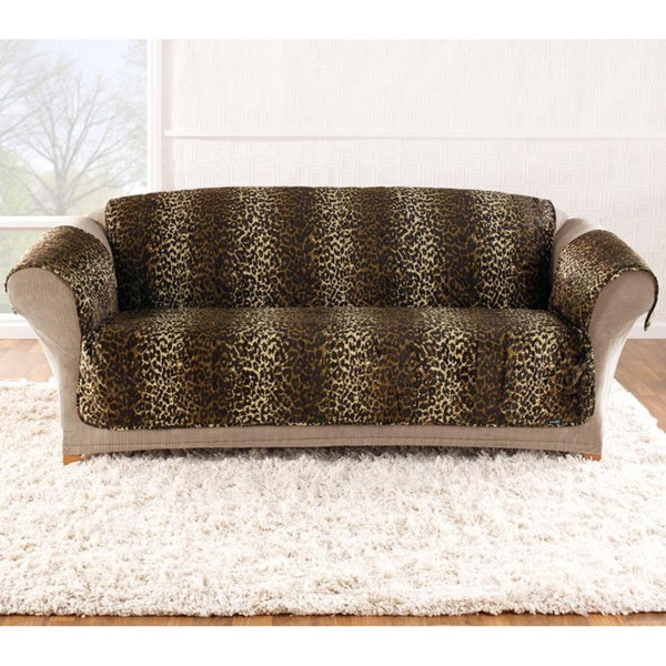 Sure Fit Velvet Leopard Sofa Cover