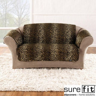 Velvet Leopard Loveseat Cover