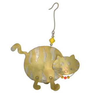 Handcrafted Benji Cat Mixed Metals Ornament (Thailand)