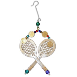 Handcrafted Tennis Love Mixed Metals Ornament (Thailand)