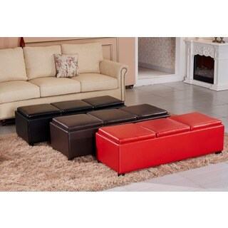 Contemporary Triple Tray Faux Leather Storage Ottoman Bench