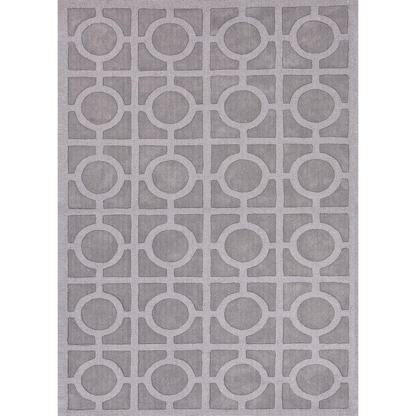 Solid Blue Wool Woven Rug (2' x 3')