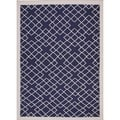 Flat-Weave Geometric Blue Wool Area Rug (9' x 12')