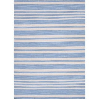 Flat Weave Stripe Ink-Blue Wool Rug (9' x 12')