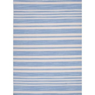 Flat Weave Ink-Blue Stripe Wool Rug (5' x 8')