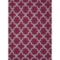 Flat Weave Geometric Pink/ Purple Wool Rug (9' x 12')