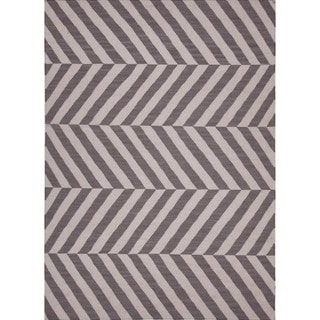 Flat Weave Stripe Gray/ Black Wool Runner (2'6 x 8')