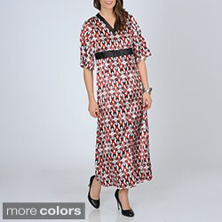 La Cera Women's Floral Print Satin Lounger