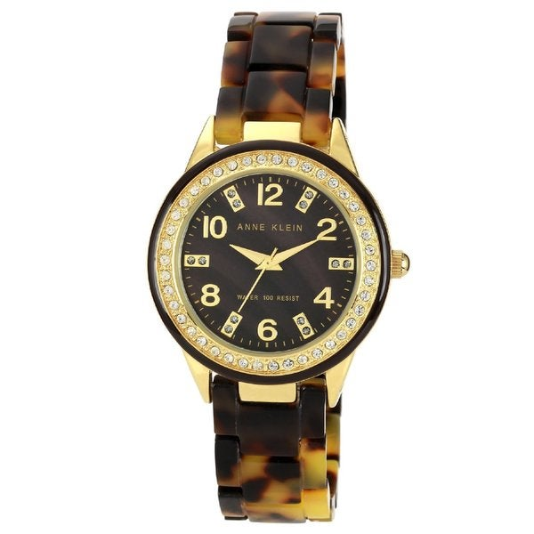 Anne Klein Women's Stainless Steel and Brown Resin Watch