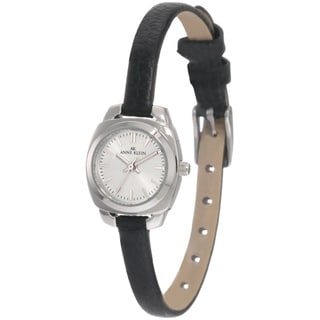 Anne Klein Women's Steel Black Leather Strap Watch