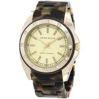 Anne Klein Women's Stainless Steel Brown Resin Bracelet Watch