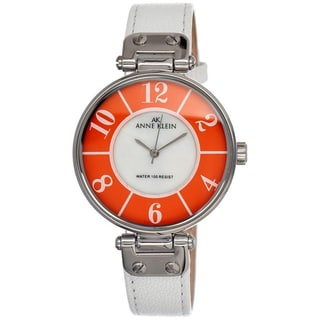 Anne Klein Women's Steel White Leather Strap Watch