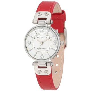 Anne Klein Women's Stainless Steel Red Leather Strap Watch