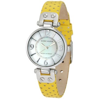 Anne Klein Women's Stainless Steel Yellow Leather Strap Watch