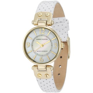 Anne Klein Women's Stainless Steel White Leather Strap Watch