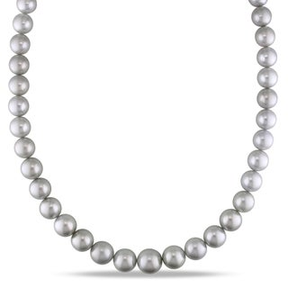 Miadora 14k White Gold Tahitian Pearl Necklace (9-12.5 mm)