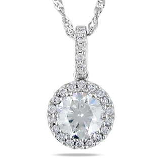 Miadora 14k White Gold 1 1/5ct TDW Diamond Halo Necklace (G-H, SI1-SI2)