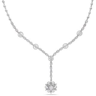 Miadora 14k White Gold 1 4/5ct TDW Diamond Flower Necklace (G-H, SI1-S