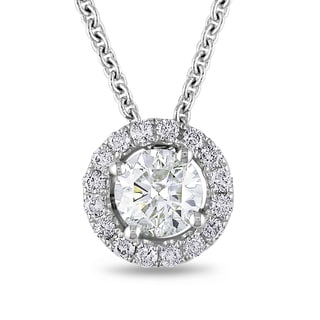 Miadora 18k White Gold 1 2/5ct TDW Diamond Circle Halo Necklace (H-I, I1-I2)