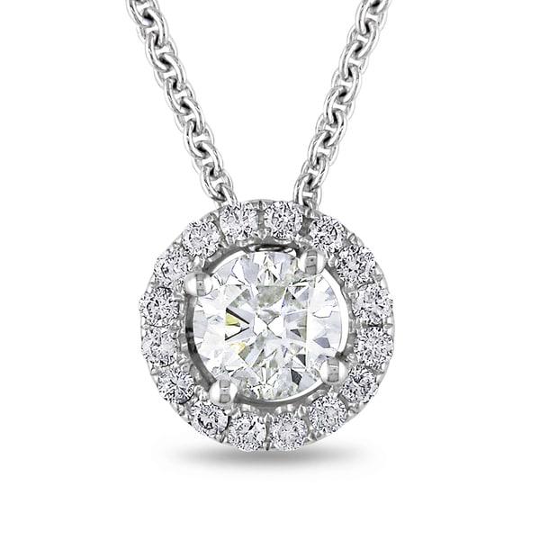 Miadora 18k White Gold 1 2/5ct TDW Diamond Circle Halo Necklace (H-I, I1-I2)