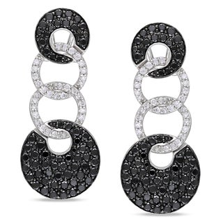 Miadora 14k White Gold 3ct TDW Black and White Diamond Earrings (I-J, I1-I2)