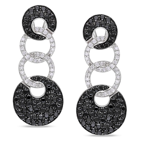 Miadora Signature Collection 14k White Gold 3ct TDW Black and White Diamond Earrings (I-J, I1-I2)