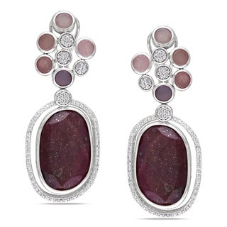 Miadora Signature Collection 14k White Gold Sapphire and 4/5ct TDW Diamond Earrings (G-H, SI1)